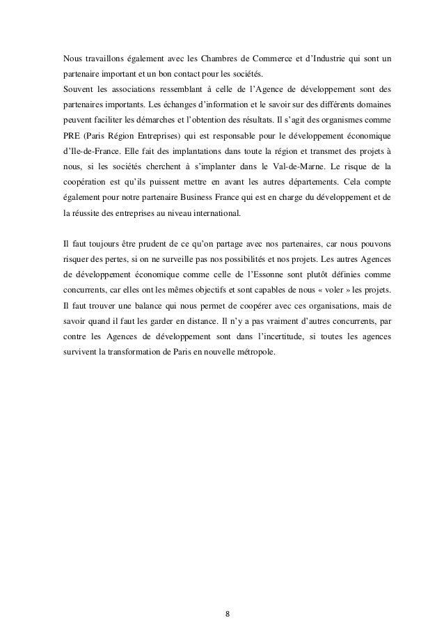 Rapport de stage agence de d veloppement du val de marne - Chambre de commerce et d industrie de seine et marne ...