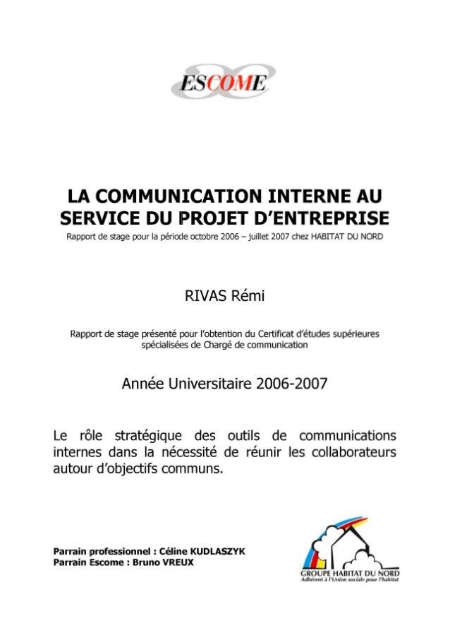 La communication interne au service du projet d'entreprise - Le rôle stratégique des outils de communications internes dan...