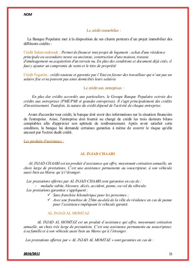 rapport de stage banque populaire maroc pdf