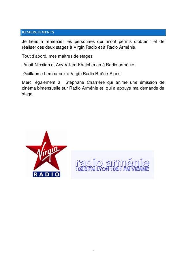 Rapport De Stage De 3e Virgin Radio Radio Arménie