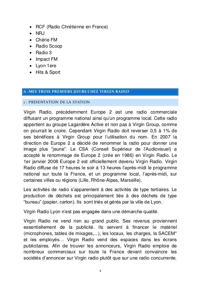 Rapport De Stage De 3e Virgin Radio Radio Armenie