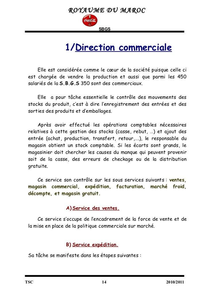 Rapport de stage coca cola final - Rapport de stage en cuisine ...