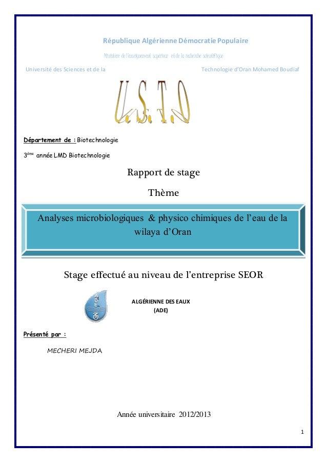 1  République Algérienne Démocratie Populaire  Ministère de l'enseignement supérieur et de la recherche scientifique  Univ...