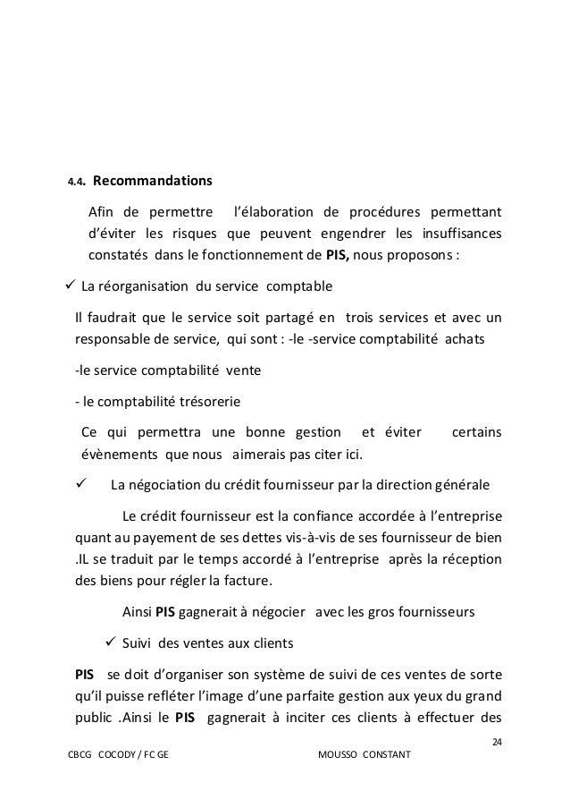 Rapport de stage bts finances comptabilite et gestion d ...