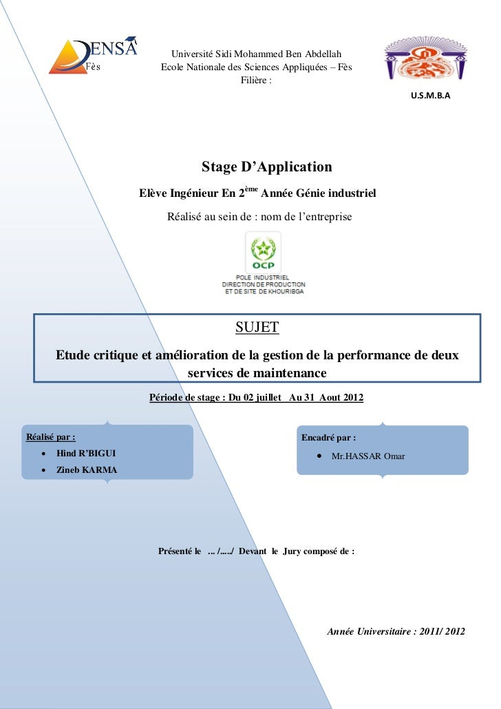 Université Sidi Mohammed Ben Abdellah                          Ecole Nationale des Sciences Appliquées – Fès              ...