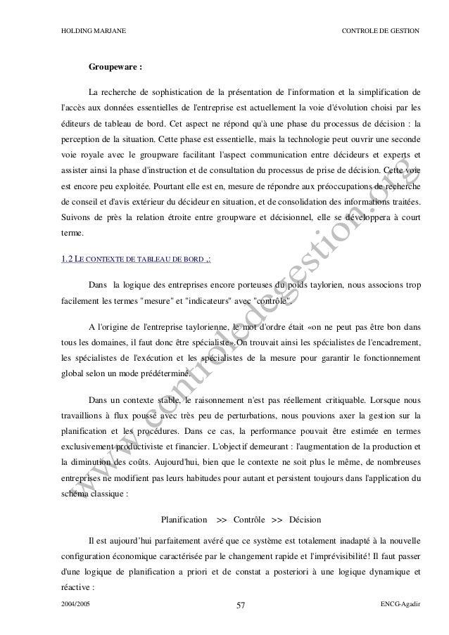 Rapport De Stage Holding Marjane Sur Le Théme Le Tableau