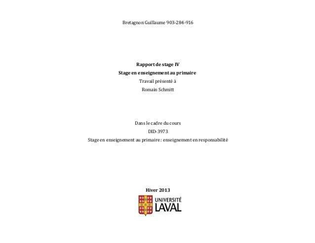 Bretagnon Guillaume 903-284-916Rapport de stage IVStage en enseignement au primaireTravail présenté àRomain SchmittDans le...
