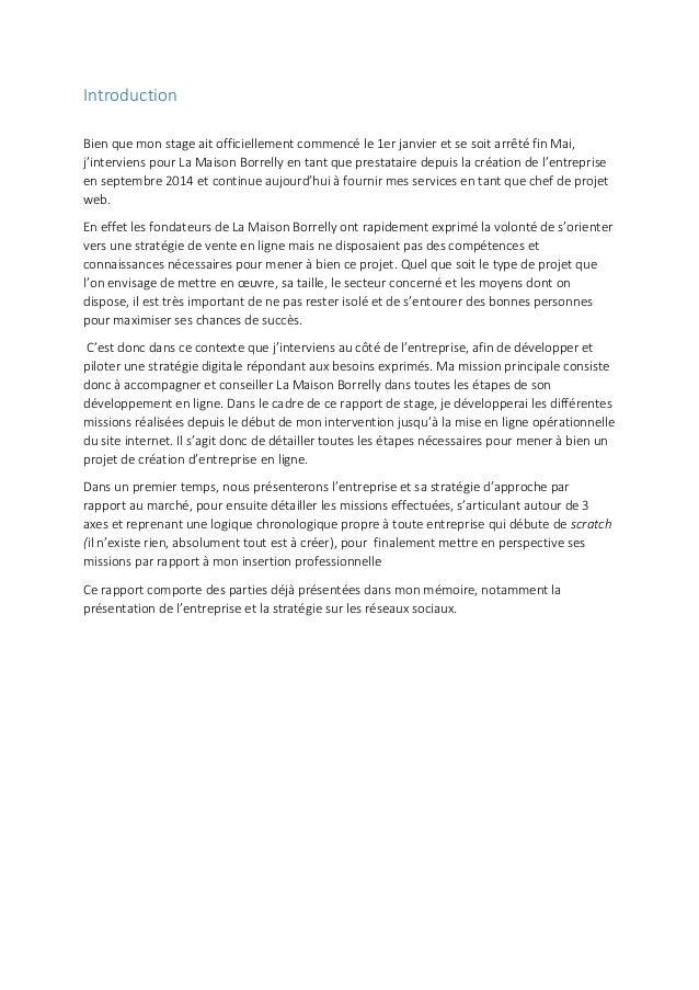 Rapport De Stage La Maison Borrelly