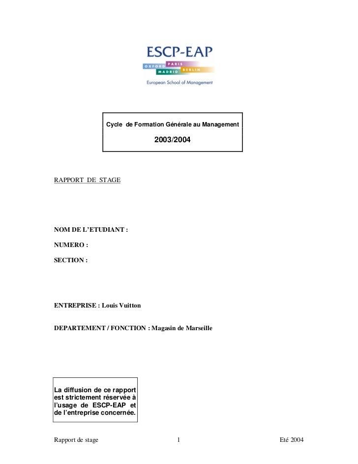 Cycle de Formation Générale au Management                                 2003/2004RAPPORT DE STAGENOM DE L'ETUDIANT :NUME...