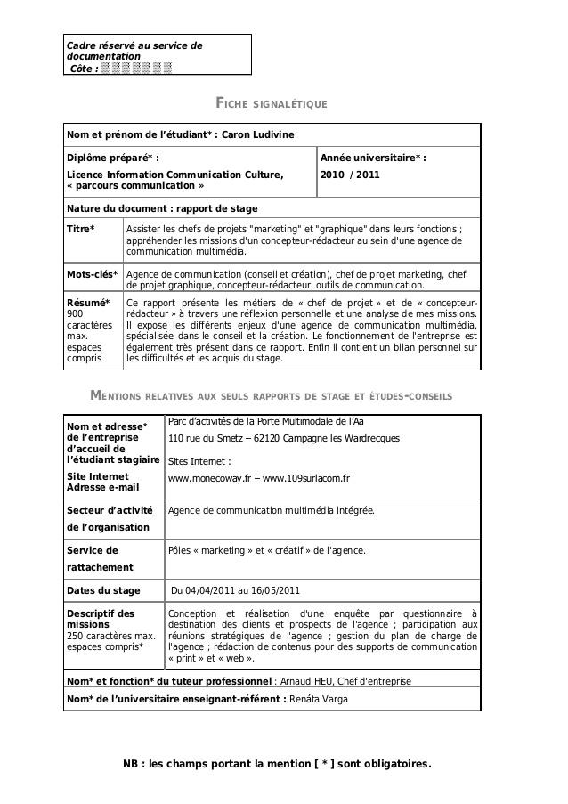 Häufig Ludivine Caron | Rapport de stage | Licence 3 | Agence de communicati… EN86