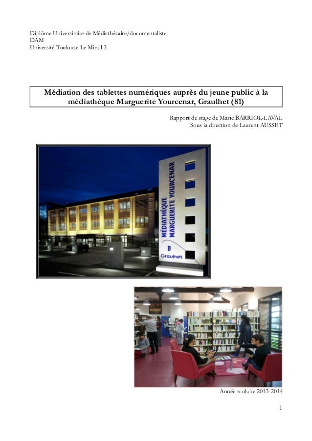 Diplôme Universitaire de Médiathécaire/documentaliste DAM Université Toulouse Le Mirail 2 Médiation des tablettes numériqu...