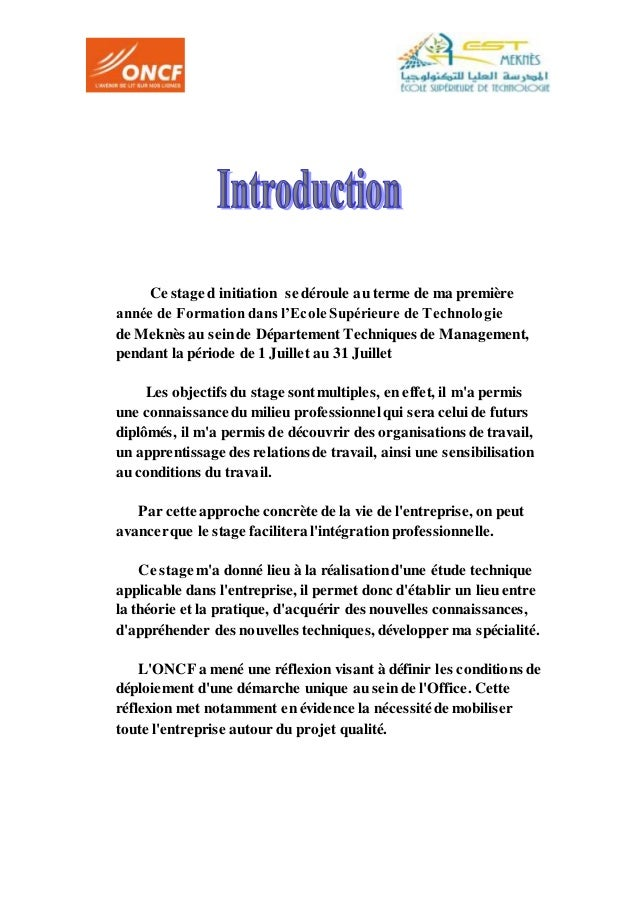 Rapport de stage effectue a oncf meknes for Introduction rapport de stage cuisine