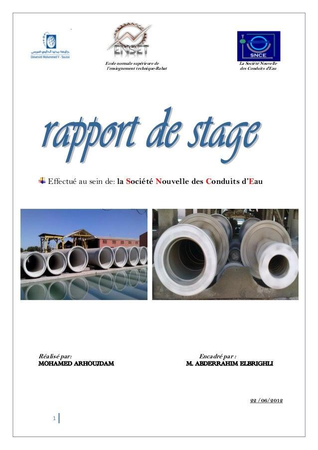 1 Ecole normale supérieure de La Société Nouvelle l'ensiegnement technique-Rabat des Conduits d'Eau Effectué au sein de: l...