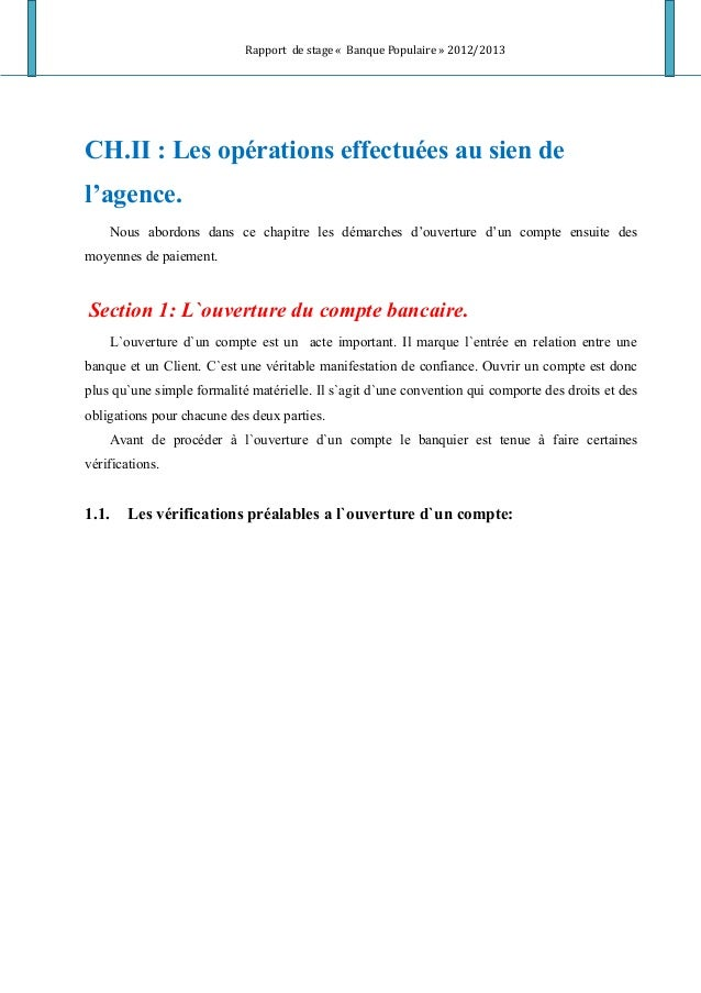 Rapport de stage « Banque Populaire » 2012/2013 CH.II : Les opérations effectuées au sien de l'agence. Nous abordons dans ...