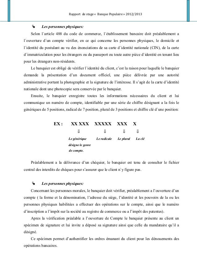 Rapport de stage « Banque Populaire » 2012/2013  Les personnes physiques: Selon l`article 488 du code de commerce, l`étab...