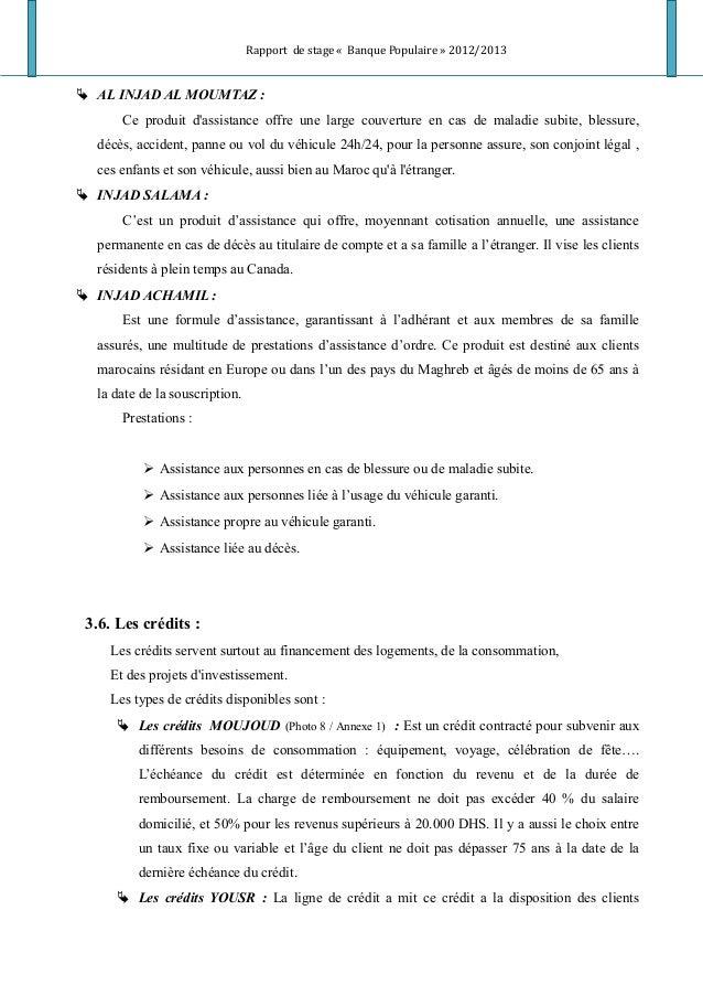 Rapport de stage « Banque Populaire » 2012/2013  AL INJAD AL MOUMTAZ : Ce produit d'assistance offre une large couverture...