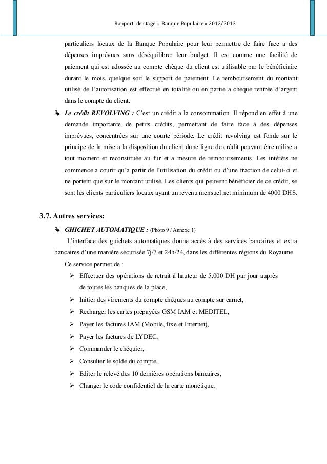 Rapport de stage « Banque Populaire » 2012/2013 particuliers locaux de la Banque Populaire pour leur permettre de faire fa...