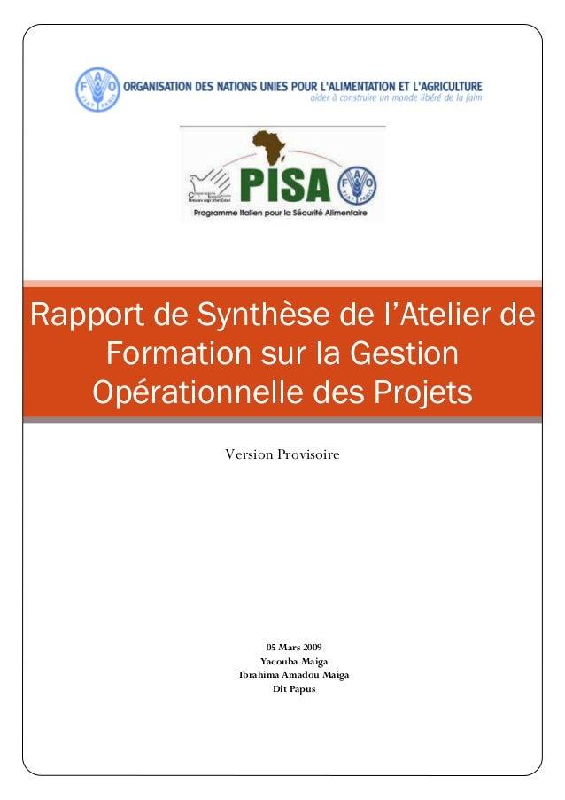 Rapport de Synthèse de l'Atelier de Formation sur la Gestion Opérationnelle des Projets Version Provisoire 05 Mars 2009 Ya...