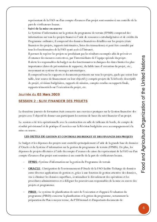 Rapport De Synthese De L Atelier De Formation Sur La Gestion Operatio
