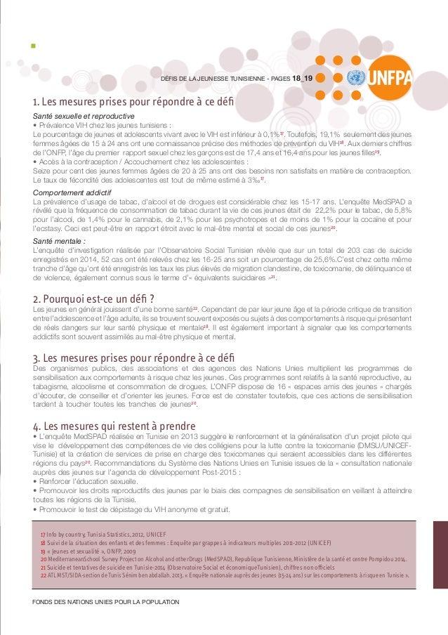 1. Les mesures prises pour répondre à ce défi Santé sexuelle et reproductive • Prévalence VIH chez les jeunes tunisiens : ...