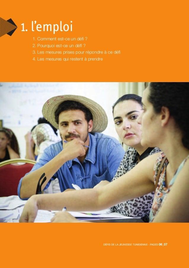Défis de la jeunesse tunisienne - pages 06_07 1. l'emploi 1. Comment est-ce un défi ? 2. Pourquoi est-ce un défi ? 3. Les ...