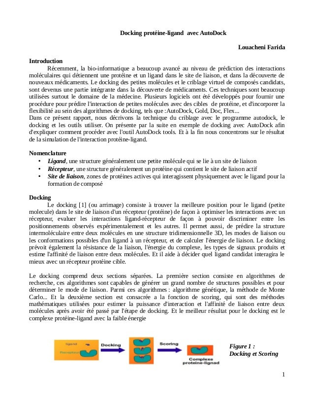 Docking protéine-ligand avec AutoDock Louacheni Farida Introduction Récemment, la bio-informatique a beaucoup avancé au ni...