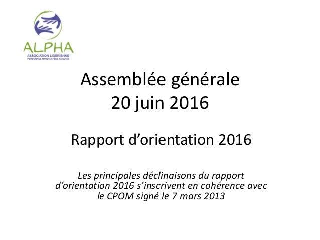 Assemblée générale 20 juin 2016 Rapport d'orientation 2016 Les principales déclinaisons du rapport d'orientation 2016 s'in...