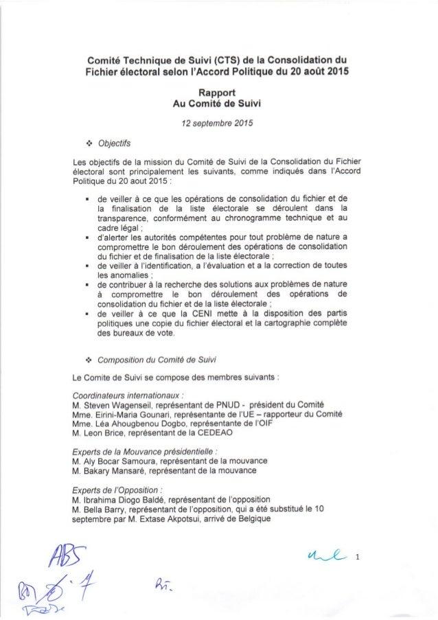 Guinée/CENI:Rapport du comité technique de suivi du fichier électoral