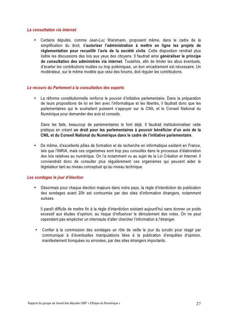 La consultation via internet      • Certains députés, comme Jean-Luc Warsmann, proposent même, dans le cadre de la       s...