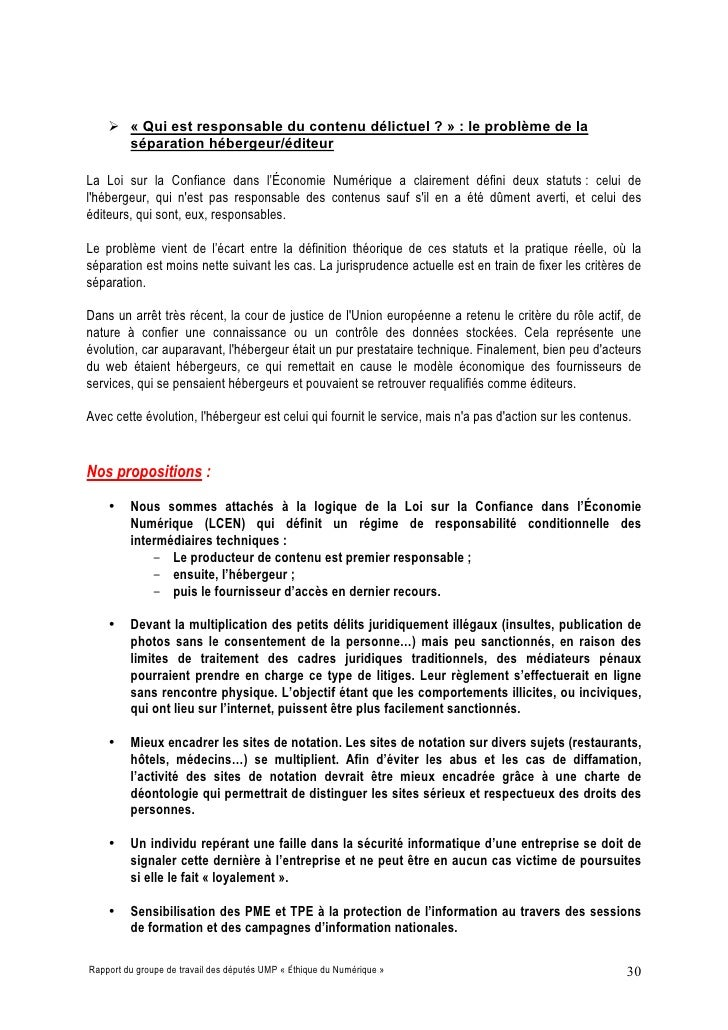  « Qui est responsable du contenu délictuel ? » : le problème de la       séparation hébergeur/éditeur  La Loi sur la Con...