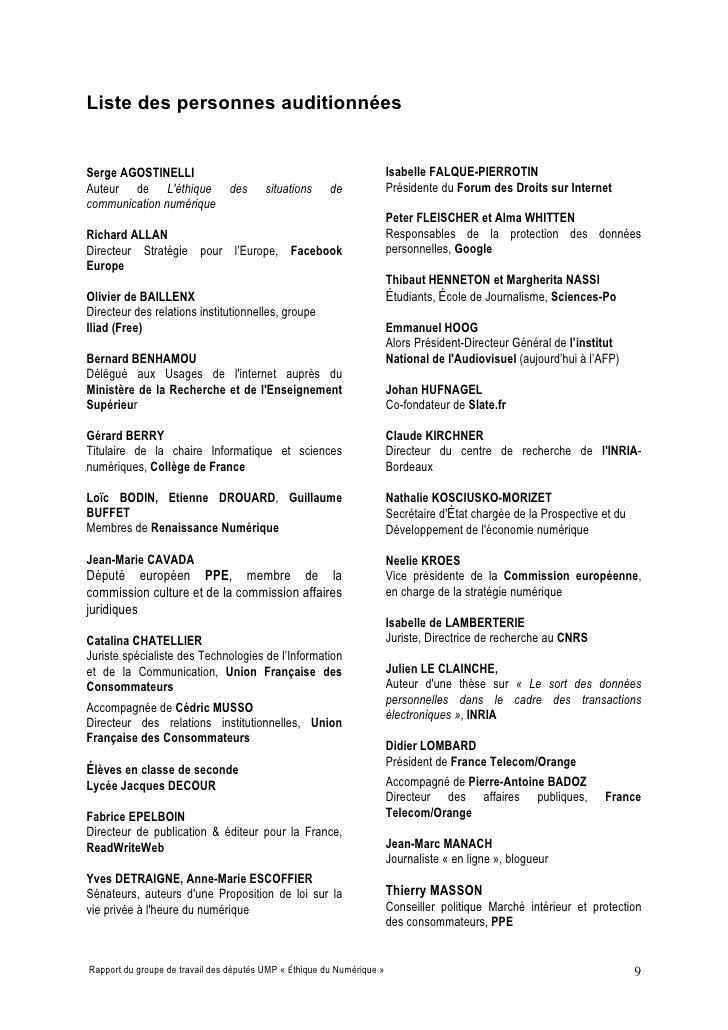 Liste des personnes auditionnées   Serge AGOSTINELLI                                                       Isabelle FALQUE...