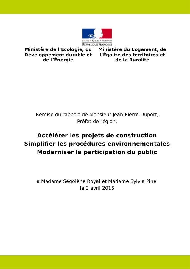 Ministère de l'Écologie, du Développement durable et de l'Énergie Ministère du Logement, de l'Égalité des territoires et d...