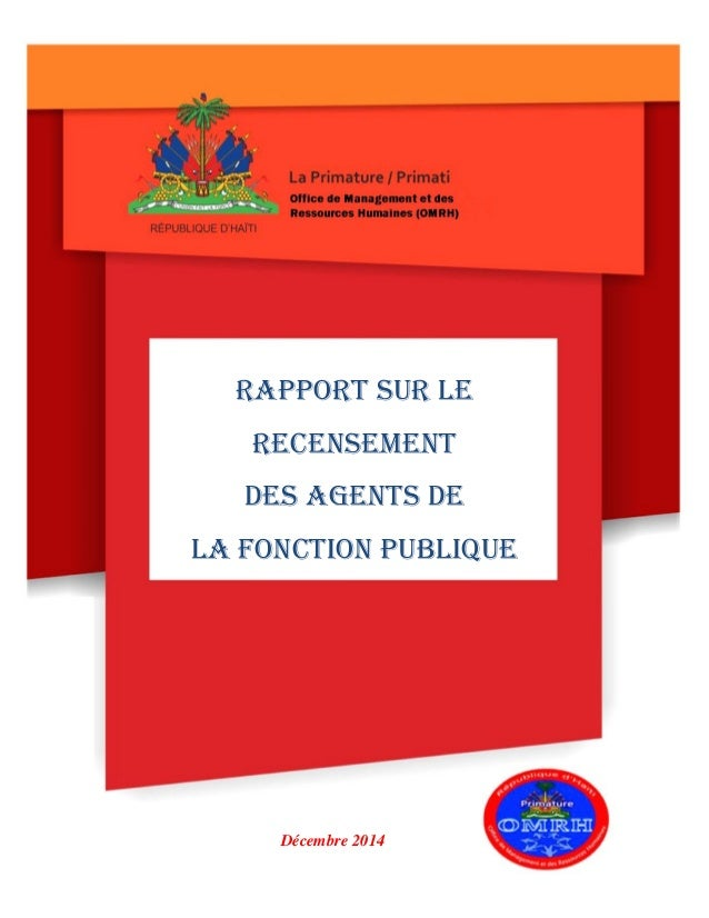 Rapport sur le Recensement des agents de la Fonction Publique Décembre 2014