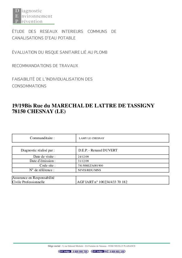 ÉTUDE DES RESEAUX INTERIEURS COMMUNS DE CANALISATIONS D'EAU POTABLE ÉVALUATION DU RISQUE SANITAIRE LIÉ AU PLOMB RECOMMANDA...