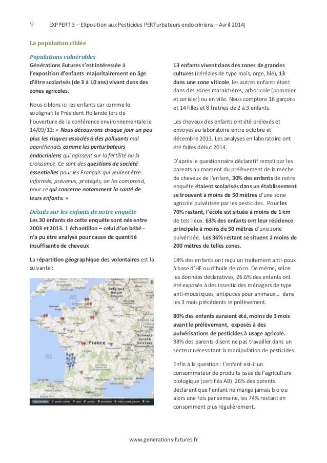 9 EXPPERT 3 – EXposition aux Pesticides PERTurbateurs endocriniens – Avril 2014| www.generations-futures.fr La population ...