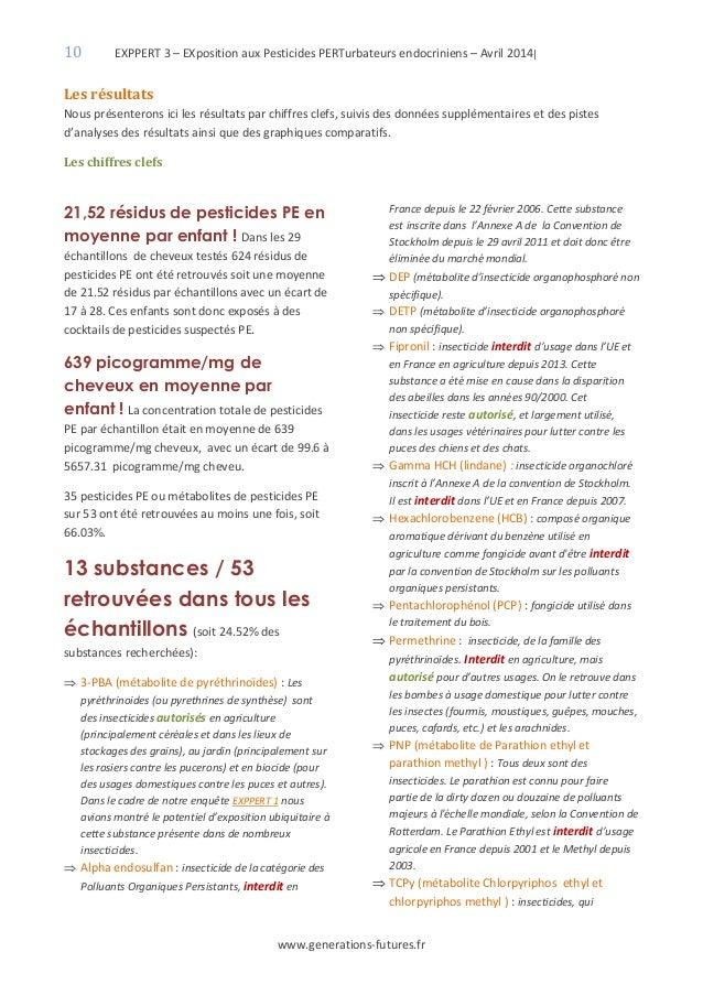10 EXPPERT 3 – EXposition aux Pesticides PERTurbateurs endocriniens – Avril 2014| www.generations-futures.fr Les résultats...