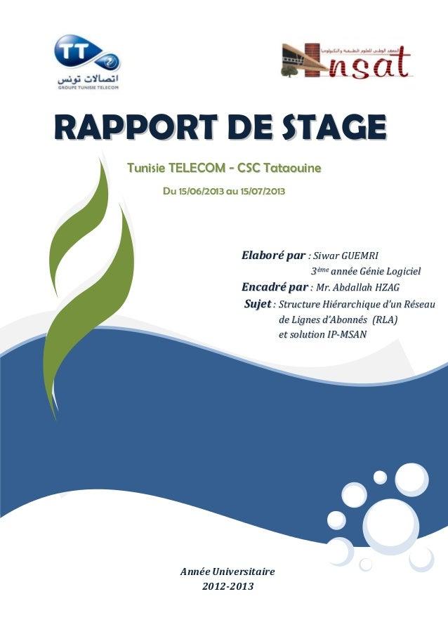 RRAAPPPPOORRTT DDEE SSTTAAGGEE TTuunniissiiee TTEELLEECCOOMM -- CCSSCC TTaattaaoouuiinnee DDuu 1155//0066//22001133 aauu 1...