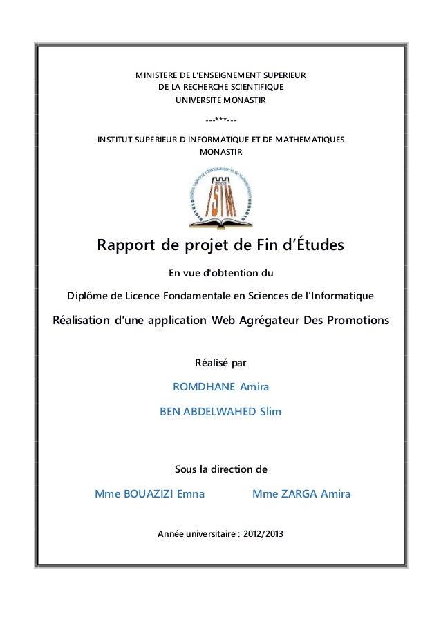 MINISTERE DE L'ENSEIGNEMENT SUPERIEUR DE LA RECHERCHE SCIENTIFIQUE UNIVERSITE MONASTIR ---***--- INSTITUT SUPERIEUR D'INFO...