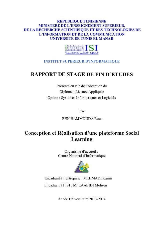 REPUBLIQUE TUNISIENNE MINISTERE DE L'ENSEIGNEMENT SUPERIEUR, DE LA RECHERCHE SCIENTIFIQUE ET DES TECHNOLOGIES DE L'INFORMA...