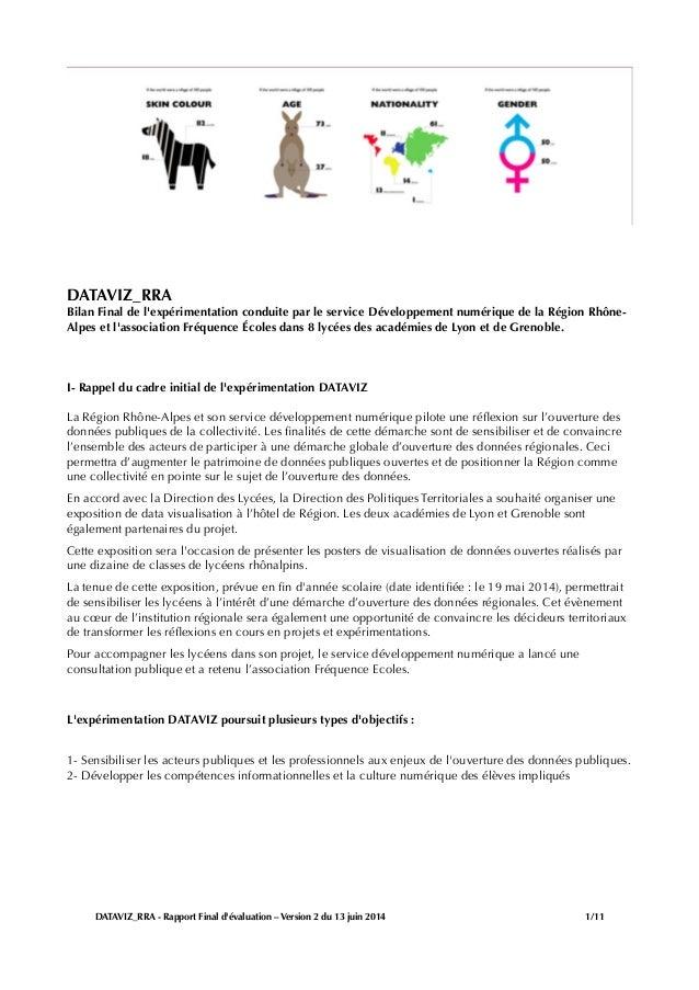 DATAVIZ_RRA Bilan Final de l'expérimentation conduite par le service Développement numérique de la Région Rhône- Alpes et ...