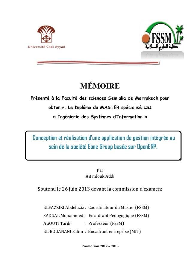 MÉMOIRE Présenté à la Faculté des sciences Semlalia de Marrakech pour obtenir: Le Diplôme du MASTER spécialisé ISI « Ingén...