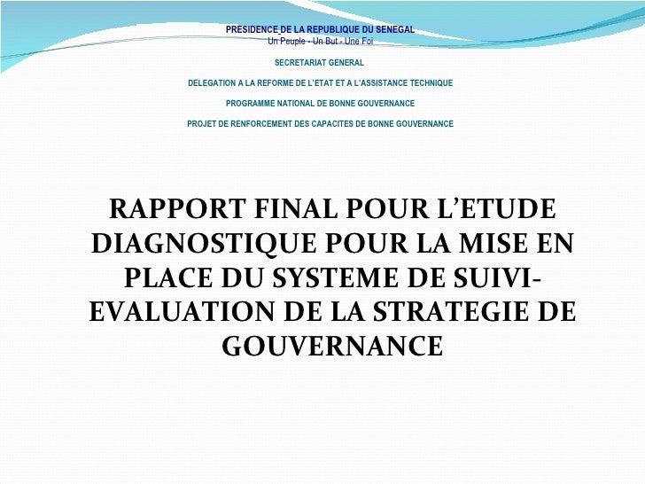Rapport final pour l'etude diagnostique