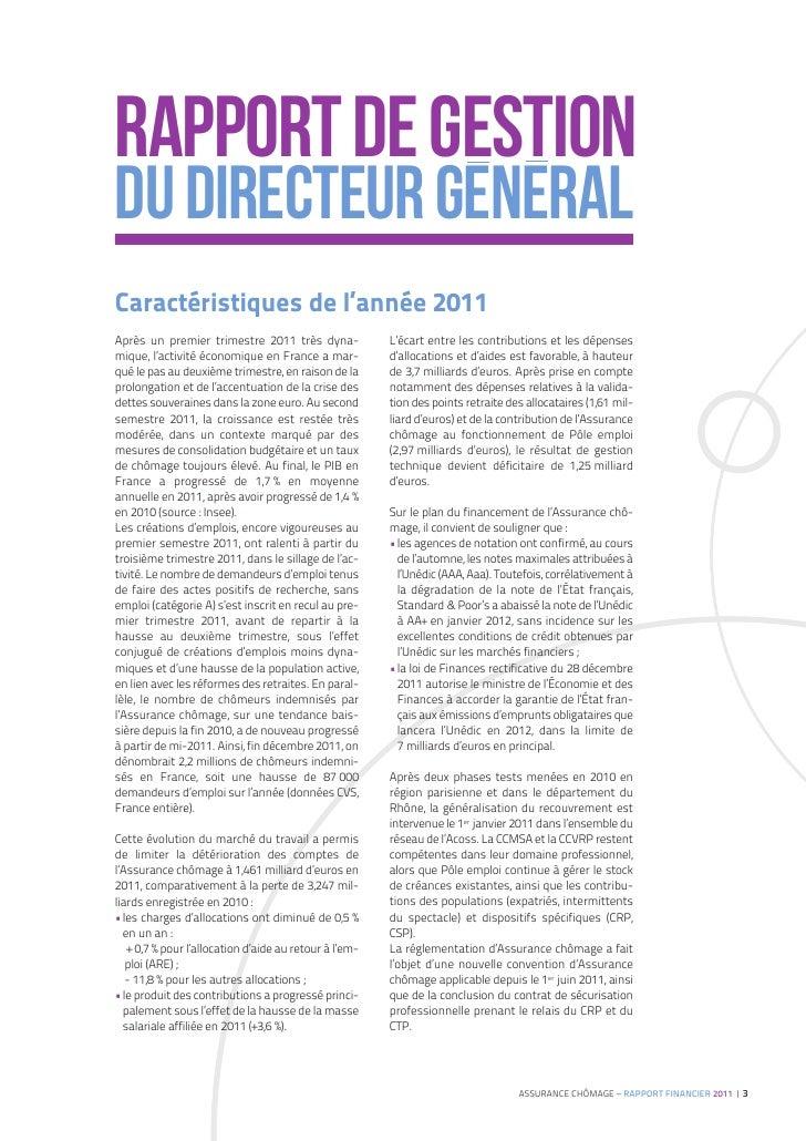 Unédic : rapport financier 2011 Slide 3