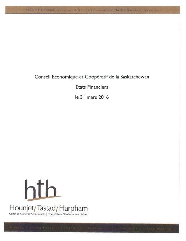 CÉCS - Rapport financier - 2015/2016