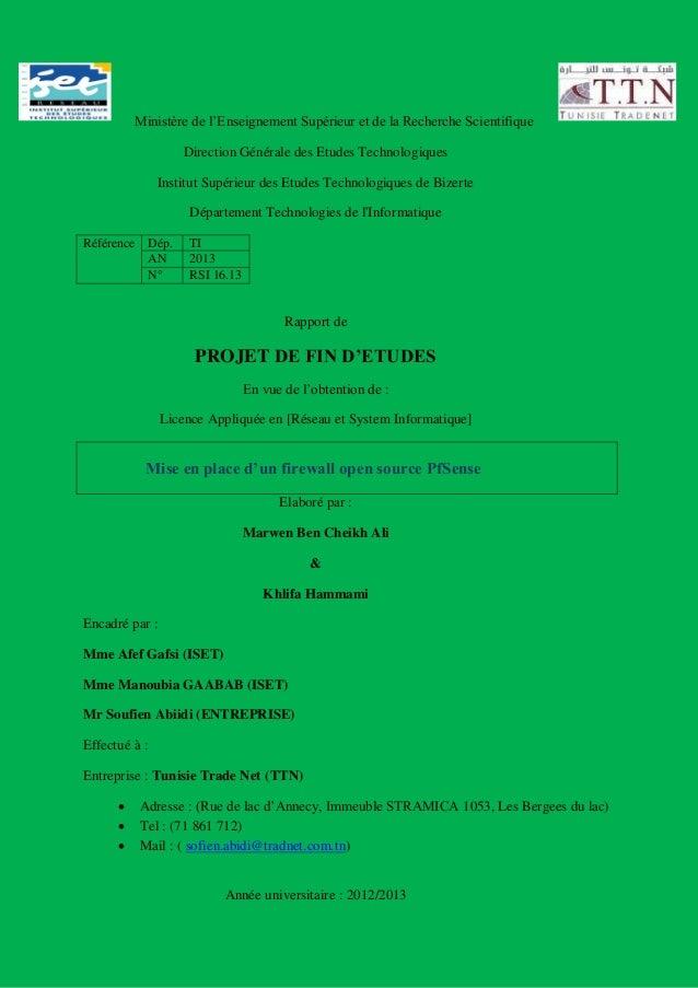 Ministère de l'Enseignement Supérieur et de la Recherche Scientifique  Direction Générale des Etudes Technologiques  Insti...