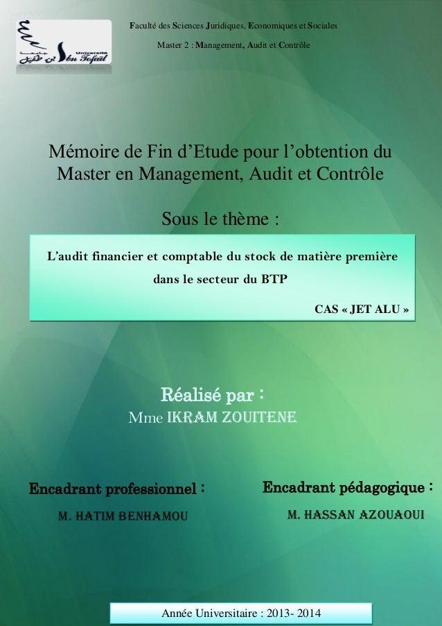 Projet de Fin d'Etude  Page 1  Faculté des Sciences Juridiques, Economiques et Sociales  Master 2 : Management, Audit et C...