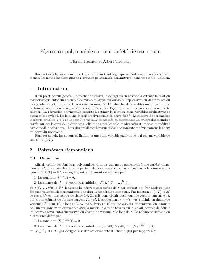R´gression polynomiale sur une vari´t´ riemannienne e ee Florent Renucci et Albert Thomas Dans cet article, les auteurs d´...