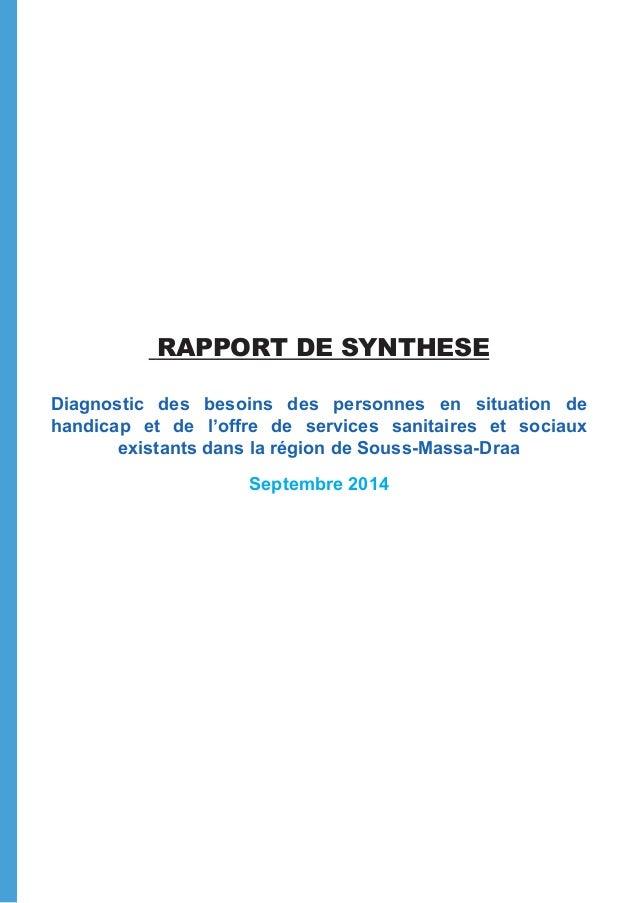 RAPPORT DE SYNTHESE Diagnostic des besoins des personnes en situation de handicap et de l'offre de services sanitaires et ...
