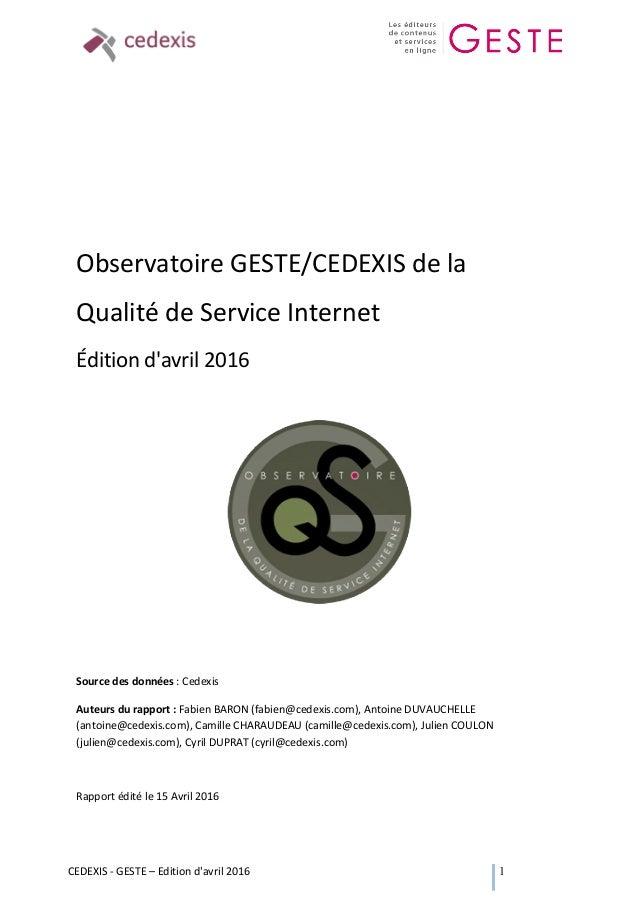 CEDEXIS  -‐  GESTE  –  Edition  d'avril  2016   1                      Observatoire  GESTE/...