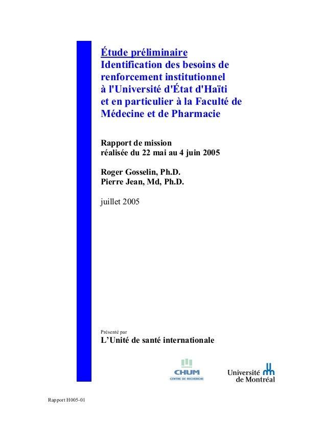 Étude préliminaire Identification des besoins de renforcement institutionnel à l'Université d'État d'Haïti et en particuli...